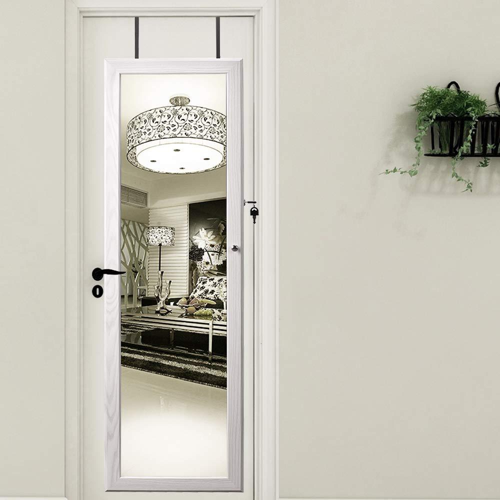 pulseras espejo de longitud completa SogesHome SH-QH-7025-W Armario de joyer/ía montado en la pared//puerta broches y maquillaje pendientes blanco organizador de joyas con cerradura para anillos