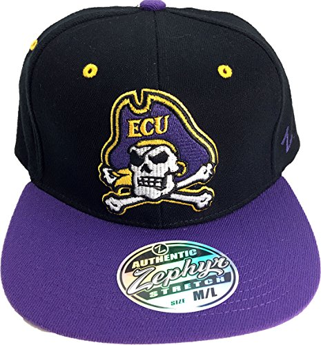 (ECU East Carolina Pirates 3-D Pirate Logo Flat Fill Adult Flex Fit Cap Hat M/L)