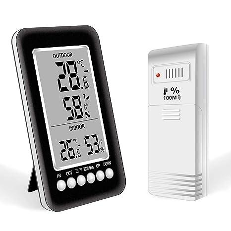 Termómetro Higrometro Digital Interior Exterior Nevera Termohigrometro con LCD Pantalla Grande Medidor Waterproof Inalámbrico Sensor Memoria ...