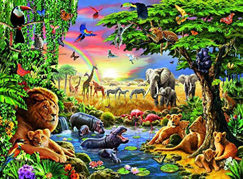 Ravensburger Evening at The Waterhole 300 Piece Jigsaw Puzzle for Kids - Every Piece is Unique, Pieces Fit Together Perfectly