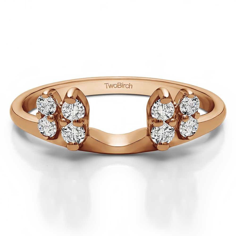 Size 3 to 15 in 1//4 Size Interval 0.24Ct Solitaire Ring Wrap Enhancer Set in Rose Gold Set with CZ