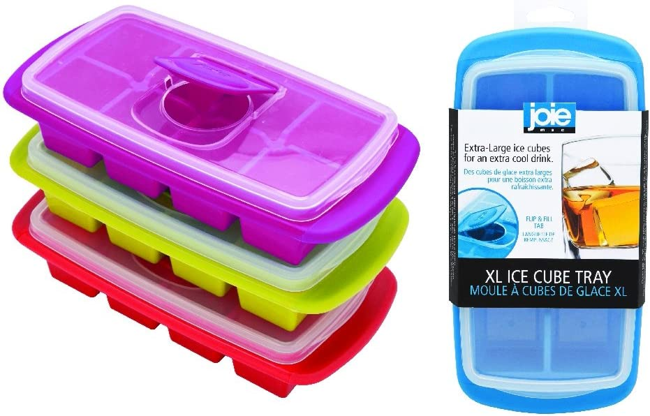MSC International 29105 Joie Extra Large Ice Cube Tray, Covered and Stackable, No-Spill Removable Lid, Assorted Colors, assorte colors, one size