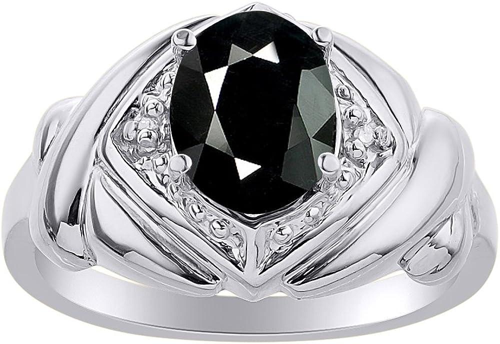 Anillo de oro blanco de 14 quilates con diamantes y ónix – XO Hugs & Kisses – Anillo de piedra de nacimiento de color