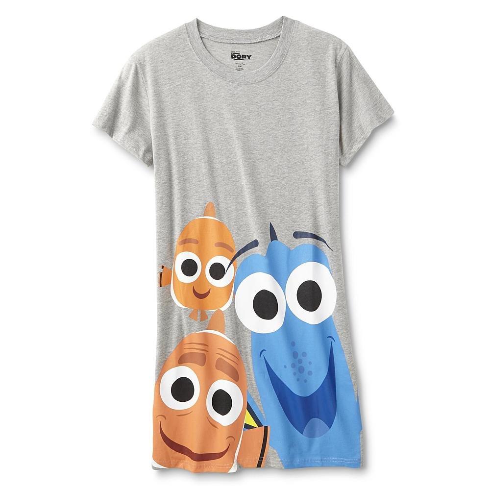 Disney Womens Regular Plus Size Character Nightgown Sleepwear Pajama Night Shirt (Finding Dory Grey, 3X)