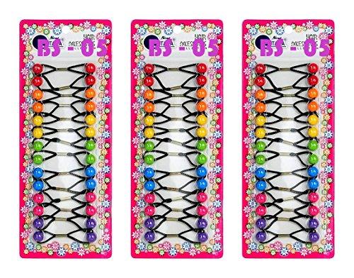 Tara Place - Tara Girls Twinbead Multi Cute Design Ponytail Elastics Pack of 3 Selection (BS05)