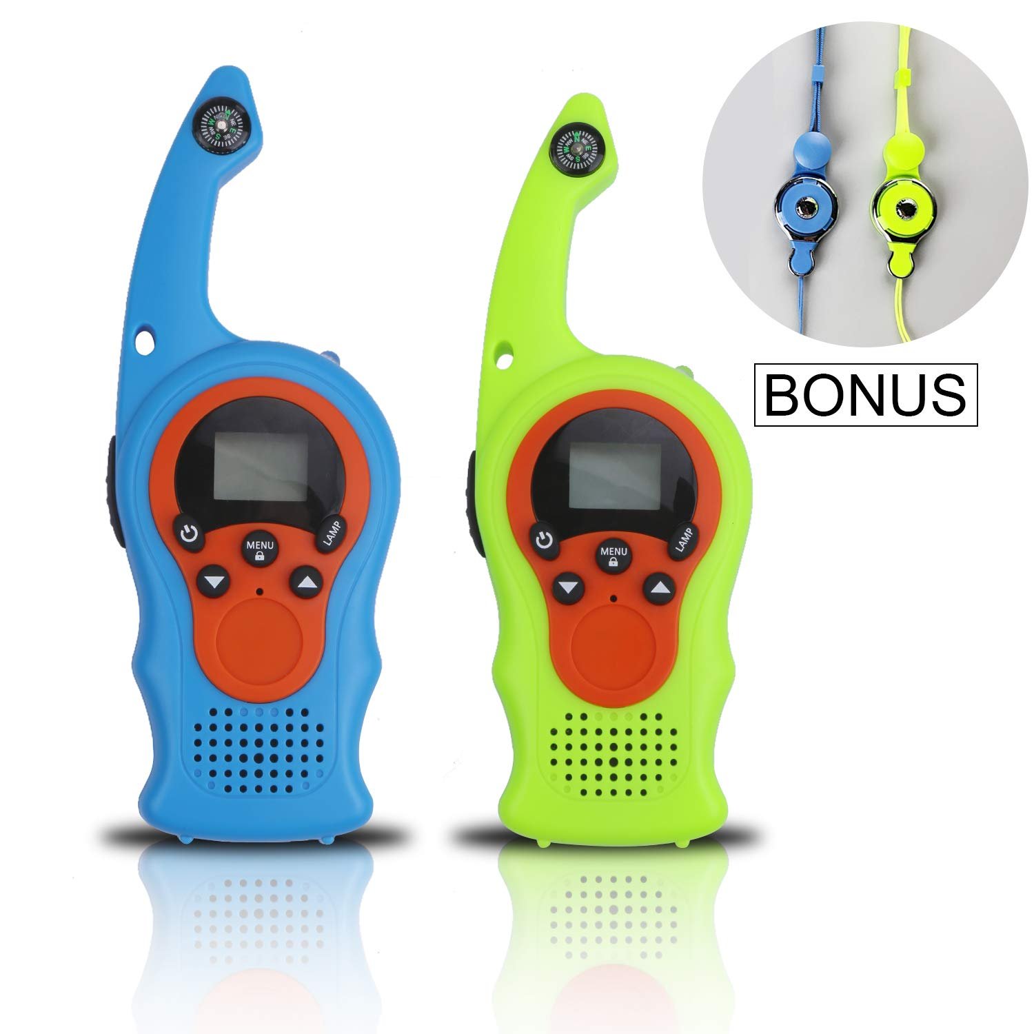 izBuy Kids Walkie Talkies, 22 Channels 3 Miles Range with Compass Flashlight, 2 Way Radio Walkie Talkie for Boys and Girls, 2 Pack Walkie Talkies with Lanyards, Ideal Outdoor Indoor Partner