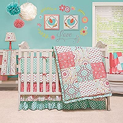 Mila Coral and Blue Floral Patchwork 4 Piece Baby Girl Crib Bedding