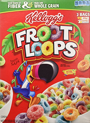Kellogg's Froot Loops Cereal 43.6 Total Ounce Two Bag Value Box