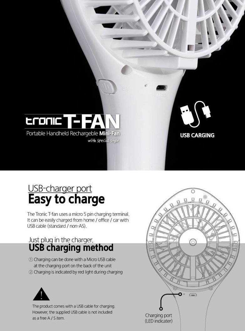 Amazon.com: TRonic USB Rechargeable Portable Personal Fan Indoor/Outdoor - White: Home & Kitchen