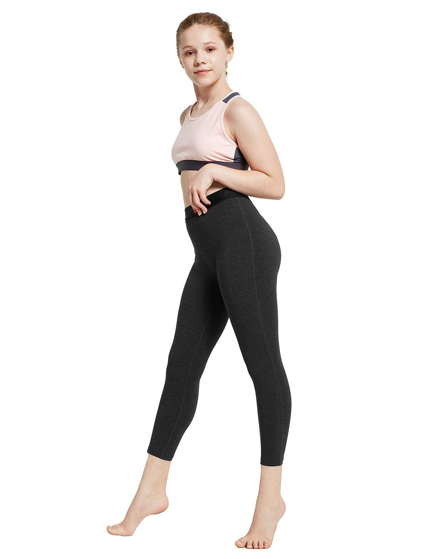 Baleaf Girls' Active Capri Legging Dance Running Active Yoga Volleyball Tight Charcoal S by Baleaf