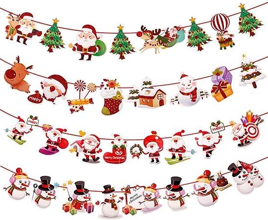 Merry Christmas Banner Bunting Garland Hanging Santa XMAS Party Decoration