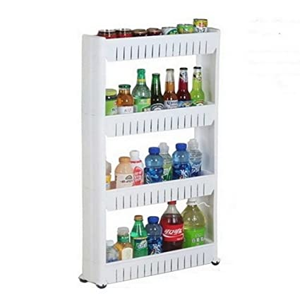 Okayji Plastic Bathroom Storage Rack Shelf, 4 Tiers, White: Amazon ...