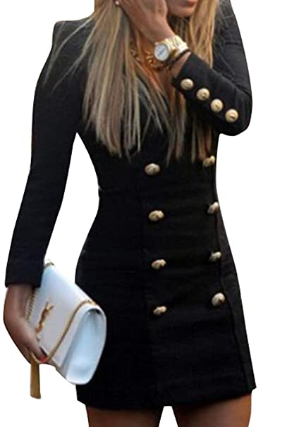 23fae9b97e07 ARTFFEL-Women Fashion V-Neck Double-Breasted Long Sleece Slim Fit Blazer  Mini Dress at Amazon Women's Clothing store: