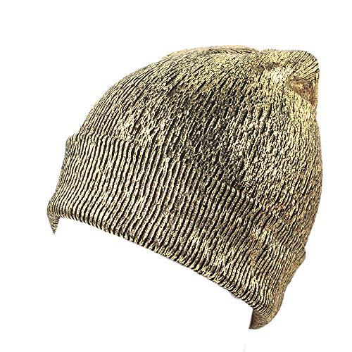 (aliveGOT Metallic Bling Skullies Beanie Slouchy Warm Headwrap Turban Hat Punky Cap (Gold))
