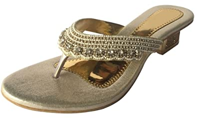 Women gold party sandal diamantes mid heels shoes JOOTI KHUSSA SHOES