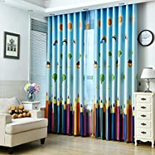 "1 Panel Dining Room Curtains,Kids Room Darkening Curtains,Room Decor for Childrens Living Room Bedroom (54"" by 63"", Colorful Pencil)"