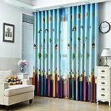 MYRU 1 Panel Pencil/Rainbow/House/Tree Room Darkening Curtains for Childrens Kids Nursery Room(39' by 84')