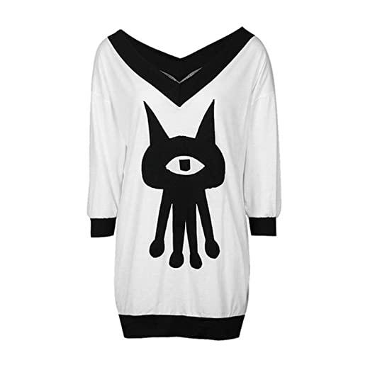 b381633ea1b09 Women s Alien Long Sleeve V Neck Casual Loose T-Shirt Dress + Pins ...