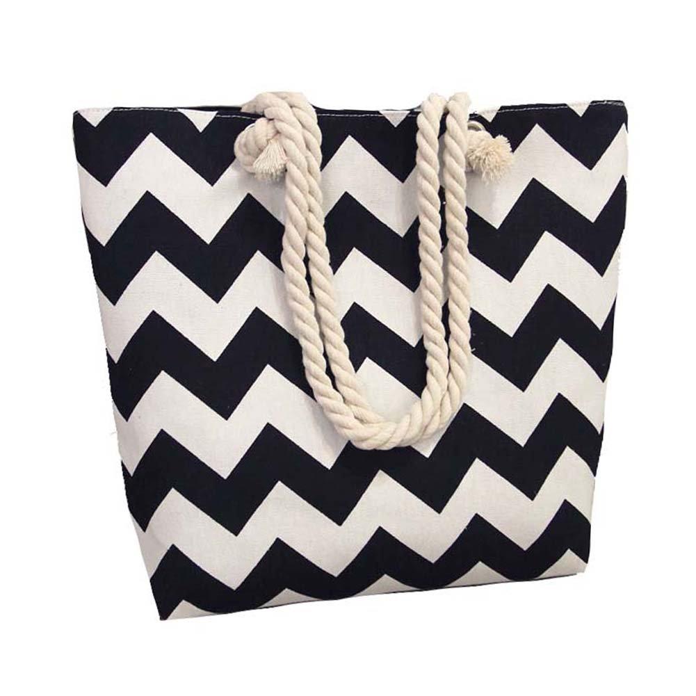 Women Canvas Beach Shoulder Bag Summer Shopping Tote Striped Satchel Large