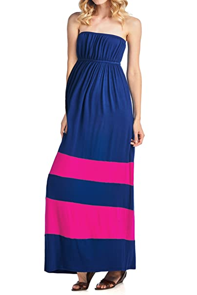 14a0782ea666c Beachcoco Women's Maternity Comfortable Color-Block Tube Maxi Dress (S,  Navy/Hot