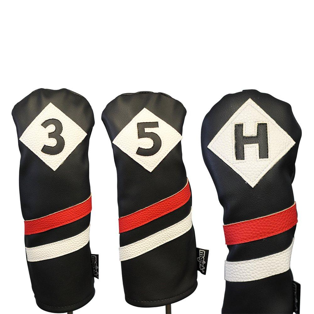 Majekレトロゴルフヘッドカバー3ブラックレッドとホワイトヴィンテージレザースタイル3 5 Hフェアウェイウッド木製、ハイブリッドヘッドカバークラシックLook   B0771SXTJ3