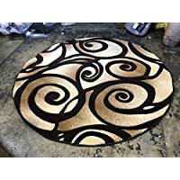 Contempo Modern Round 400,000 Point Area Rug Contemporary Abstract Brown Design 341 (4 Feet X 4 Feet)