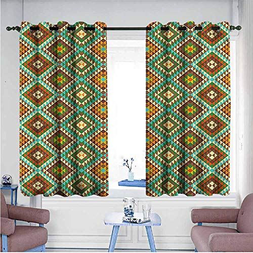 (Kids Room Curtains Ethnic Mosaic Folkloric Ethnic Children's Bedroom Curtain W72 xL45 Suitable for Bedroom,Living,Room,Study, etc.)