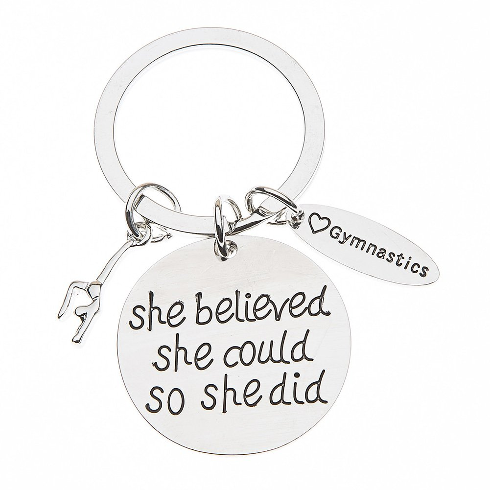 The Infinity Collection Gymnastics Keychain- She Believed She Could So She Did Girls Gymnastics Gift- Gymnastics Jewelry For Gymnast