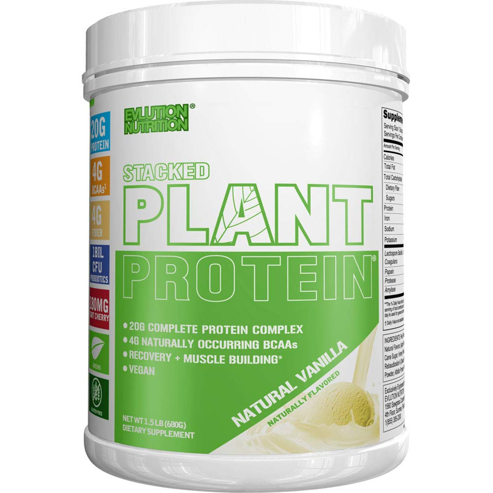 Stacked Plant Protein Powder   All-Natural Vanilla   Vegan, Non-GMO, Gluten-Free   Probiotics, BCAAs, Fiber, Tart Cherry   Complete Plant-Based Protein Complex   1.5 lb Tub