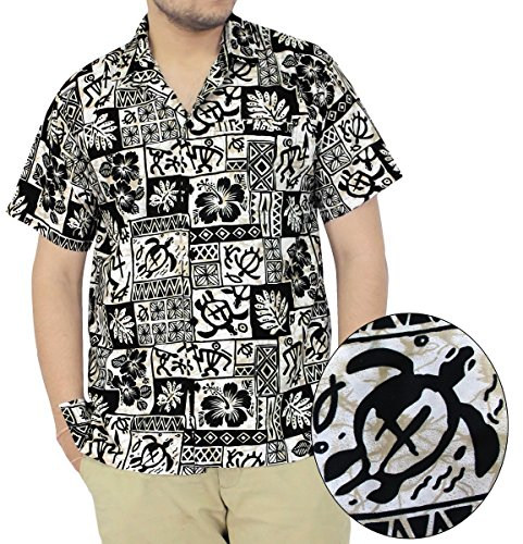 LA LEELA SHORT SLEEVEBEACH POCKET FRONT LUAU PARTY CARIBBEAN BEACHWEAR CAMP HAWAIIAN DRESS ALOHA SHIRT MENS A121 Black L Spring Summer (Hawaiian Party Dress)