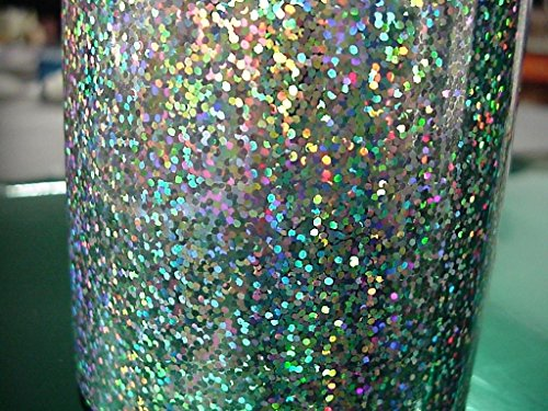 Sequins Holographic Glitter Sign Vinyl, With Self-Adhesive (12 inch x 10 ft, Silver)