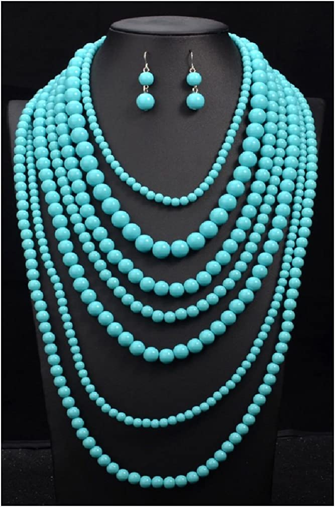 MOON GIRL Fashion 5 color big statement Multilayer long necklace beads for jewelry making display Bohemia choker necklace women (3)