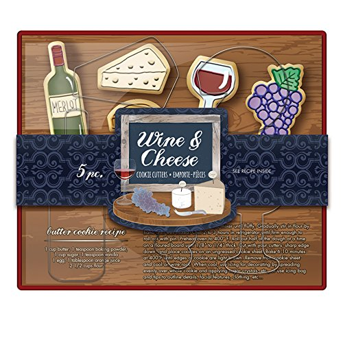 (Fox Run 36040 Wine and Cheese Cookie cutters, 5.5 x 7.25 x 1.25 inches, Metallic)