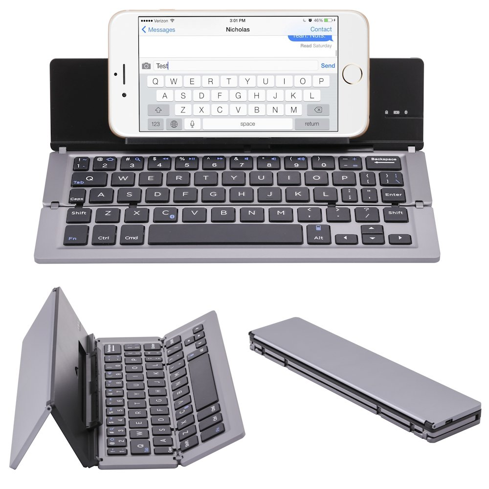 NOVT Foldable Wireless Bluetooth Keyboard with Kickstand for iPhone / iPad Pro / iPad Air 2 / Air, iPad mini 3 / mini 2, iPad, Galaxy Tabs and Other Windows Android iOS Tablet Smart phones (Gray)