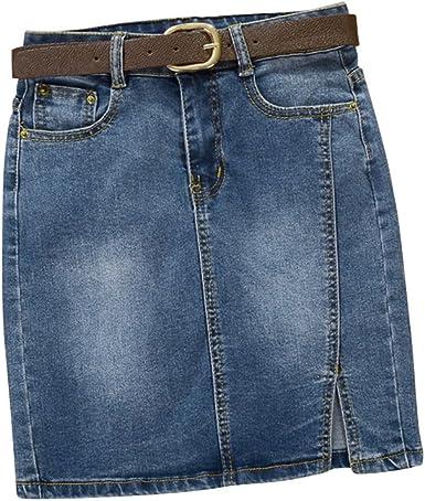 Dooxii Mujer Verano Cintura Alta Casual Falda Corta cinturón ...
