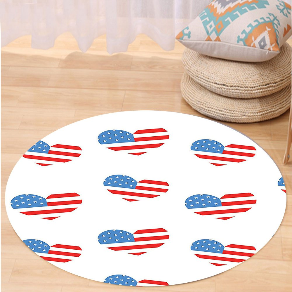 VROSELV Custom carpetAmericana Decor Collection Hearts Independence Day Of America Memorial Celebration Balloons Party Traditional Bedroom Living Room Dorm Round 72 inches