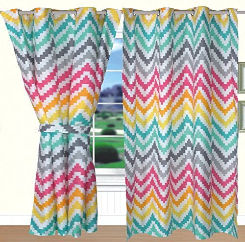 All American Collection New 4pc Printed Modern Curtain Set (Curtain Set, Zig-Zag Rainbow)]()