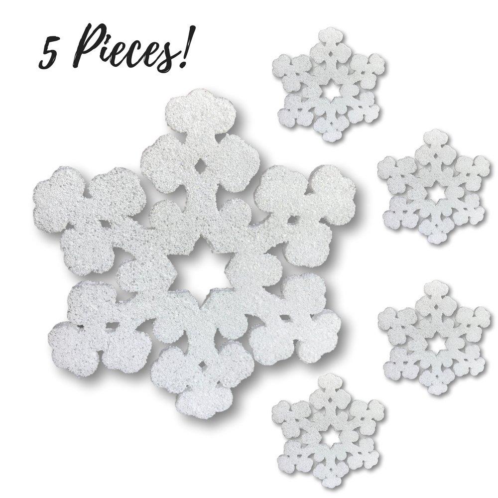 Large Snowflake Decorations - Set of 5 Foam White Glitter Snowflakes - 12'' Foam Snowflake - Snowflakes For Window Decorations - Craft Snowflakes