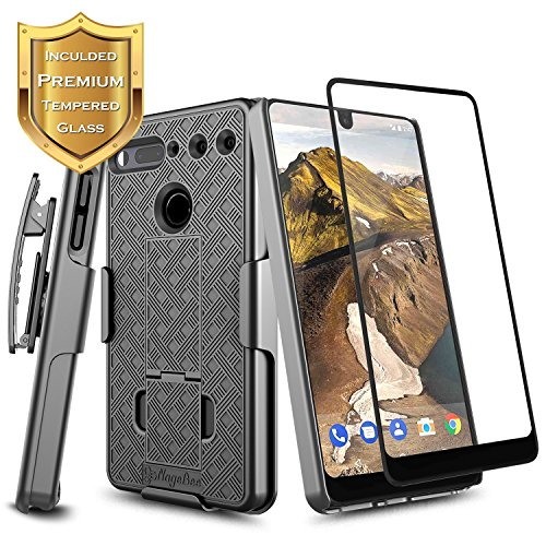 Essential Phone PH-1 Case with [Full Coverage Tempered Glass Screen Protector], NageBee Slim Fit Belt Clip Holster Shell Built-in Kickstand Combo Case for Essential Phone - Black