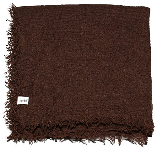 Kuldip Cotton Crinkle Pashmina Style Scarf Shawl Wrap Throw. Dark Chocolate Brown Scarf Dark Chocolate