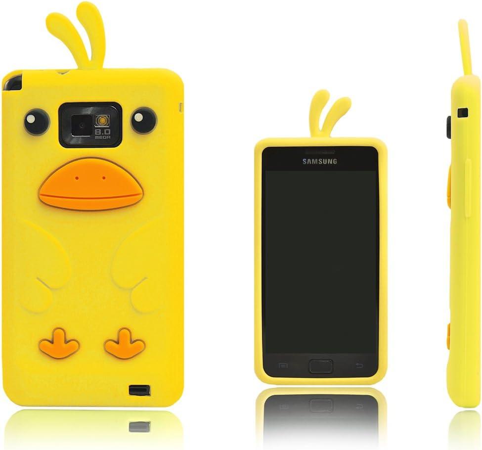 Xcessor Chicken Pollo Funda Carcasa de Silicona Para Samsung Galaxy S2 i9100 y S2 Plus i9105. Amarillo