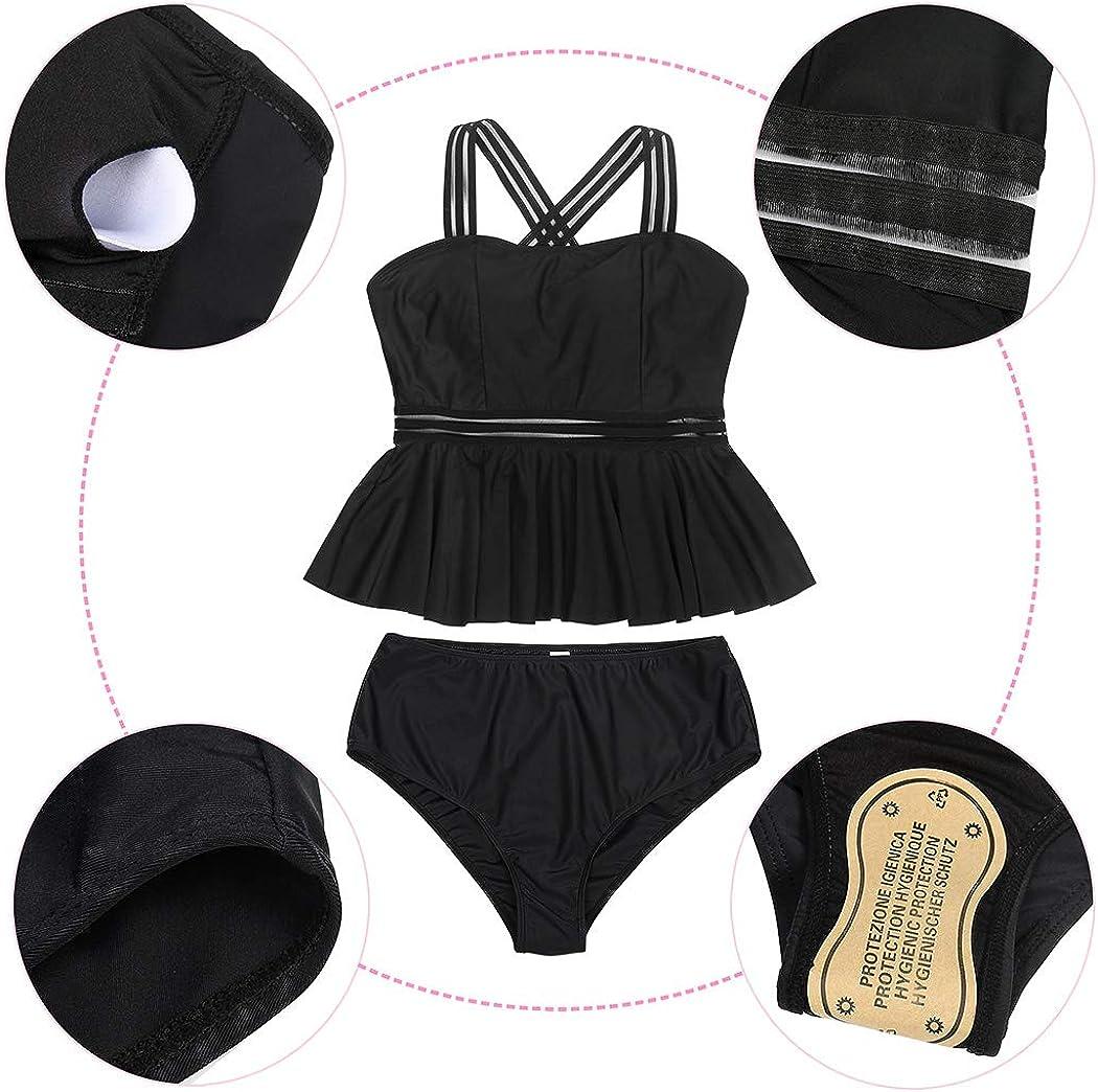 AmzBarley Costumi da Bagno per Donna Due Pezzi Tankini Set Bikini Retro Balze Reggiseno Top Floreale Pantaloni a Vita Alta con Removibile Guarnizioni