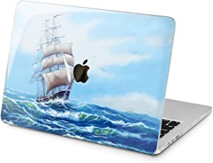 "Cavka Hard Shell Case for Apple MacBook Pro 13"" 2019 15"" 2018 Air 13"" 2020 Retina 2015 Mac 11"" Mac 12"" Wave Cover Protective Print Artwork Ocean Ship Laptop Marine Plastic Sailing Paint Sea Design"