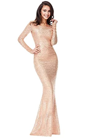 16ece4aedd3 Quiz New EX Stunning Rose Gold Sequin Fishtail Maxi Evening Dress UK 8-18 (