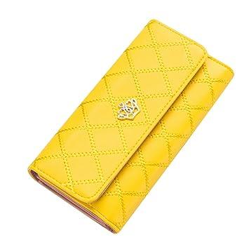 Contever® Moda Bolsos de mano Clutch Largo Carteras para Mujer Dama cuero de la PU Billetera Tarjetero (Amarillo): Amazon.es: Belleza