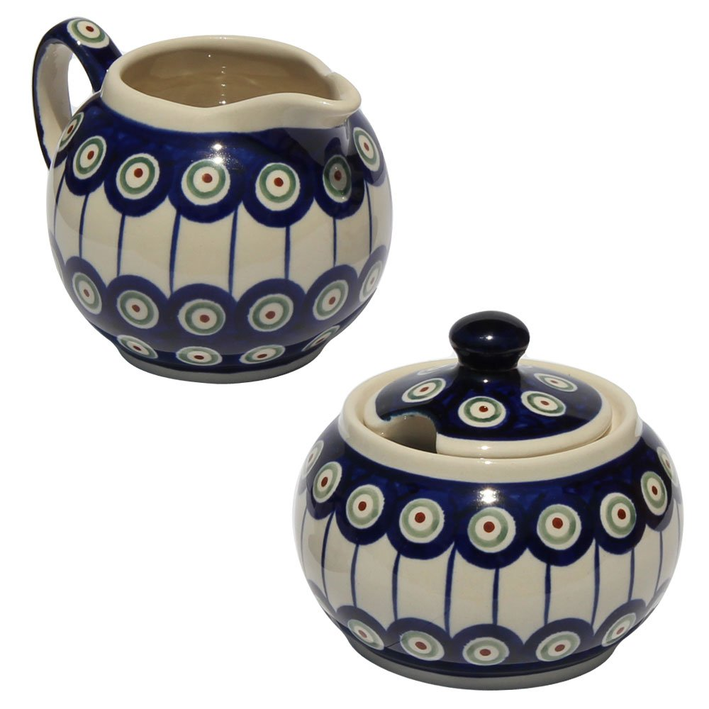 Polish Pottery Sugar Bowl and Creamer From Zaklady Ceramiczne Boleslawiec #694/711-8 Classic Pattern, Sugar Bowl: Height: 3.7