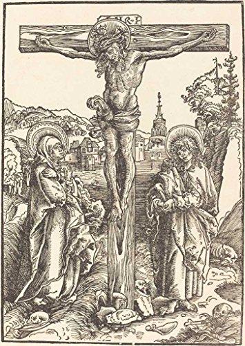 1502 Cross (Artist: Lucas Cranach the Elder | Print: Christ on the Cross Between the Virgin and Saint John | Date: c. 1502 | Vintage Fine Art Print)