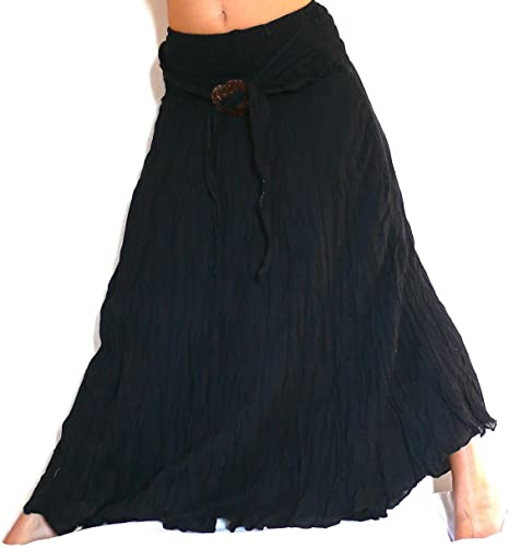 Falda Larga Negro Negra étnica Mujer Talla única Hippie Long Skirt ...