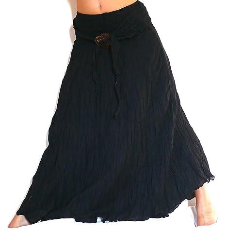 comprare popolare 6504e 94708 Gonna lunga nero nera etnica donna Taglia Unica Hippie lungo ...
