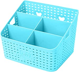 Coideal Plastic Bathroom Basket Organizer Blue Large Desktop Rattan Storage Cosmetic Makeup Holder with Mesh Hollow Design for Shower Kitchen Office Desk 5 Compartments